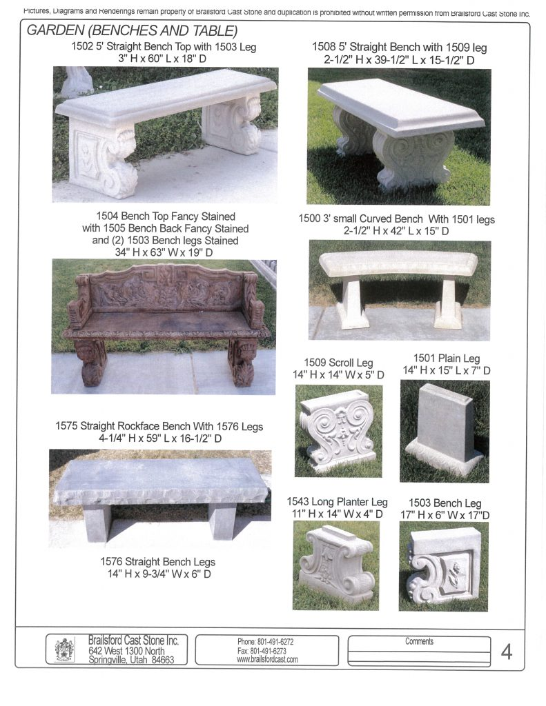 Tremendous Benches And Tables Brailsford Cast Stone Inc Inzonedesignstudio Interior Chair Design Inzonedesignstudiocom